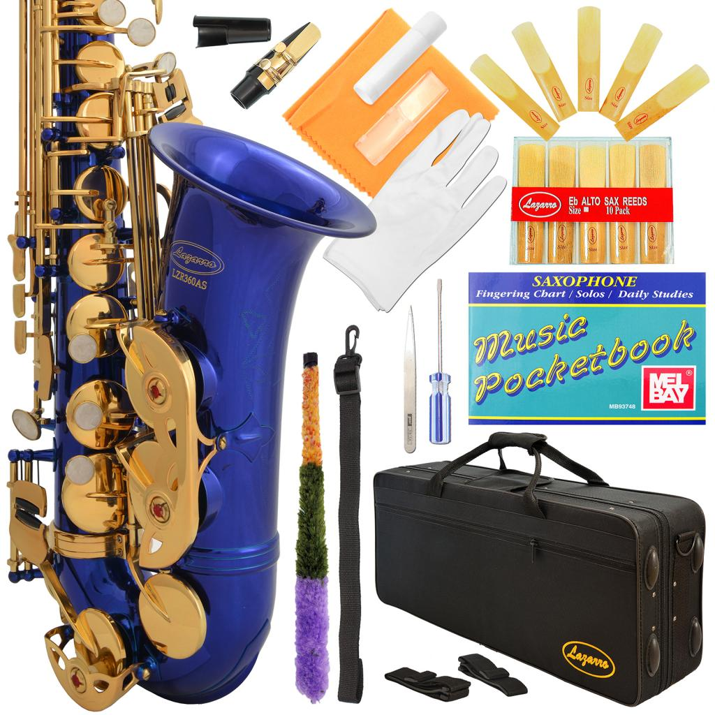 Lazarro® Professional Royal Blue-Gold Keys Eb E Flat Alto Saxophone Sax with 11 Reeds, Case & Many Extras - 360-BU