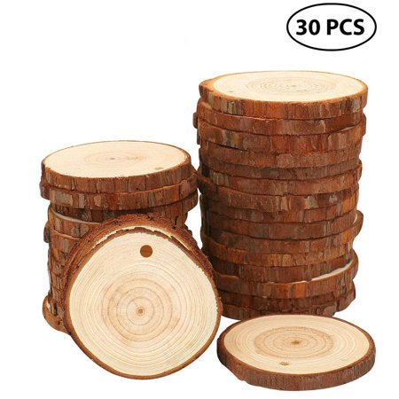 Wood Slices 30 Pcs Craft Wood Kit Unfinished Predrilled with Hole Wooden Circles](Wood Tree Slices)