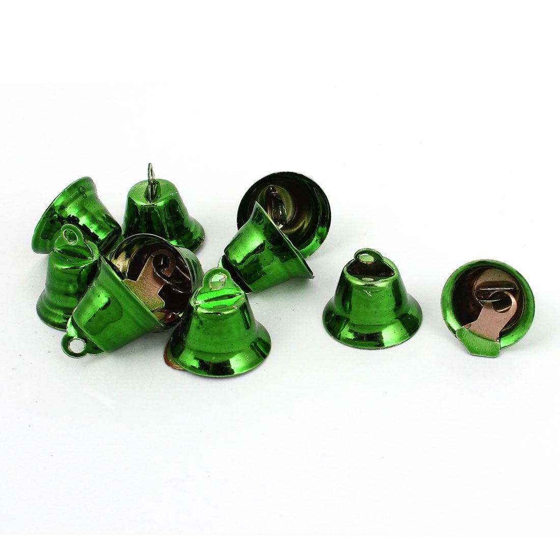 10 Pcs Metal 15mm Dia Christmas Tree Ring Bell Hanging Decoration Green - image 1 de 1
