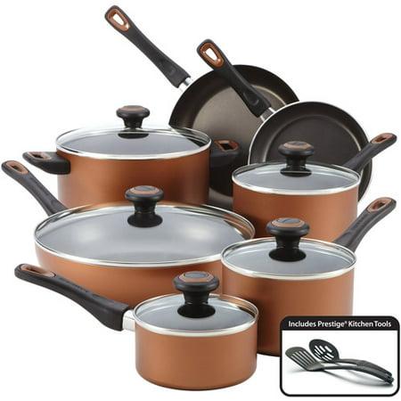 Farberware 14 Piece Smart Glide Cookware Set Copper