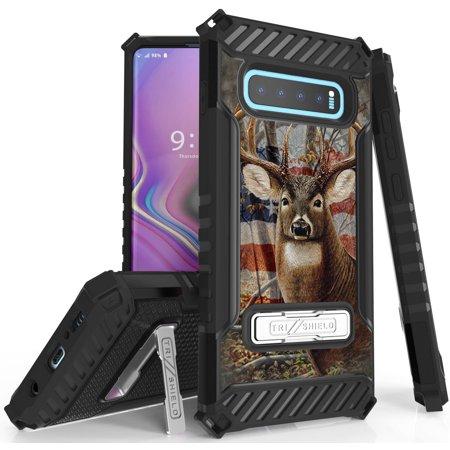 Galaxy S10 Case, Tri-Shield [HUNTER SERIES] Rugged Military-Grade Cover with Metal Kickstand [PREY DESIGN] for Samsung Galaxy S10 Phone (SM-G973)