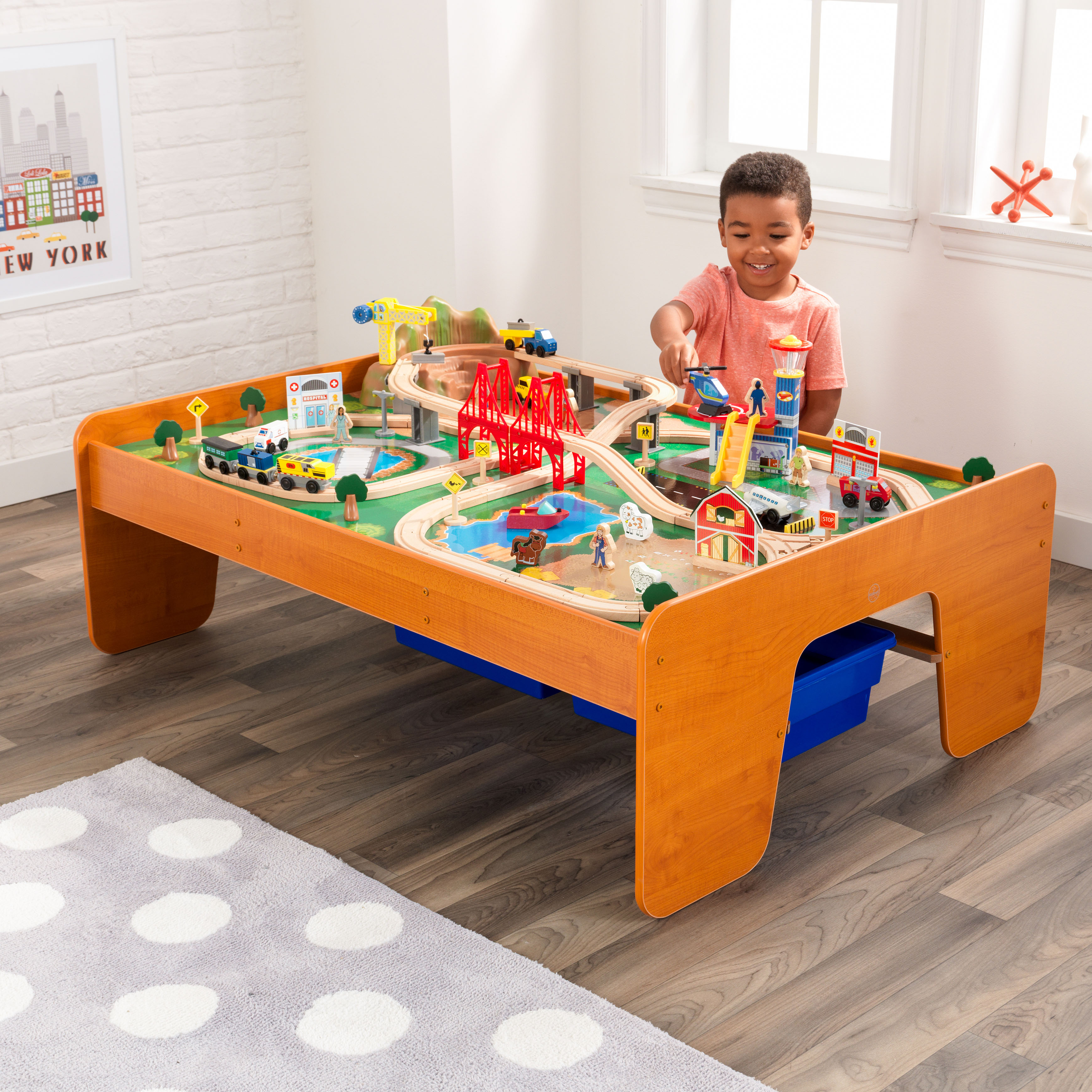 KidKraft Ride Around Town Train Set U0026 Table With 100 Accessories Included