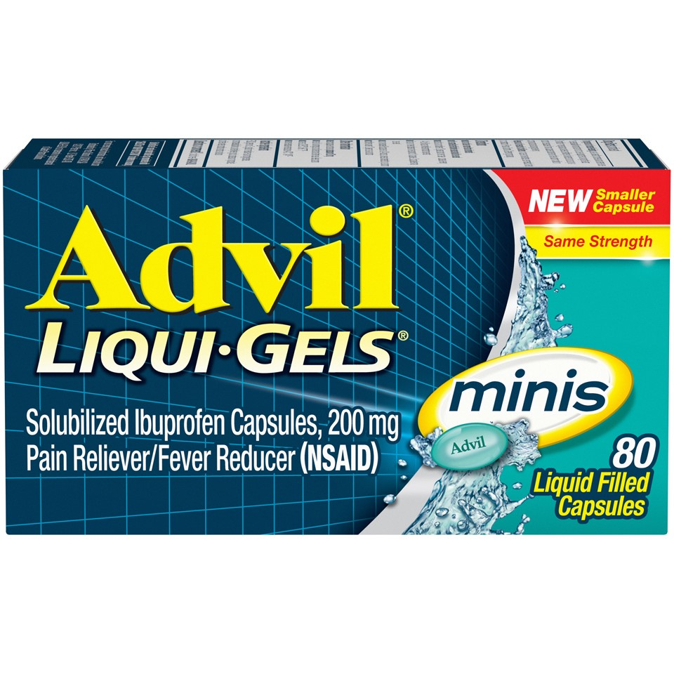 Advil Liqui-Gels minis (80 Count) Pain Reliever / Fever Reducer Liquid Filled Capsule, 200mg Ibuprofen, Easy to Swallow, Temporary Pain Relief