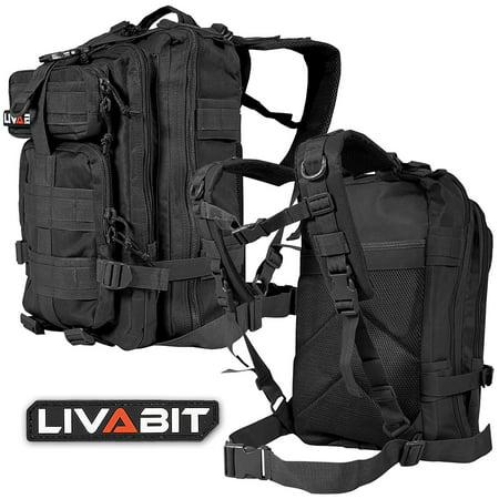 LIVABIT Tactical EDC 3 Day Assault Bug Out Bag Backpack Rucksack Carrier (Blk Leather Carrier)