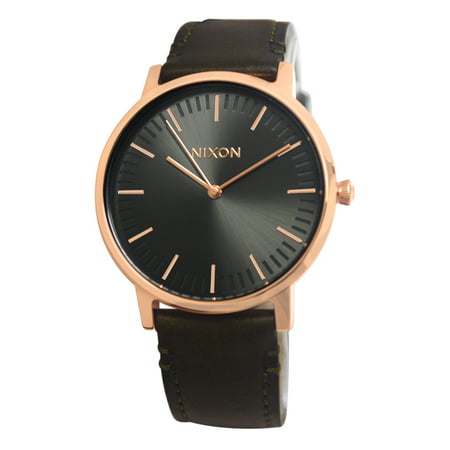 Nixon A10582441 Porter Gunmetal Rose Gold Surplus Leather (Bezel Gunmetal Black Leather)