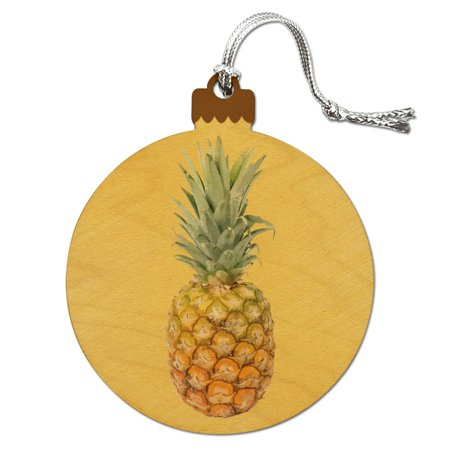 Holiday Williamsburg Fruit - Pineapple Fruit on Yellow Tropical Background Wood Christmas Tree Holiday Ornament