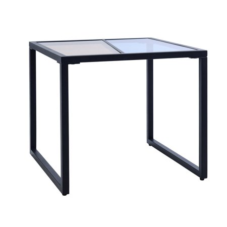 Costway Square Side End Table Tempered Glass Top Metal Frame Living Room Furniture ()