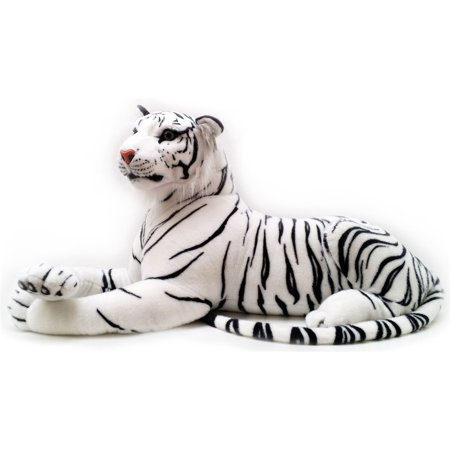 Timurova the White Siberian Tiger | 4 Foot Long (Tail Measurement not Included!) Big Stuffed Animal Plush Cat | Shipping from Texas  | By Tiger Tale Toys Bengal Tiger Stuffed Animal