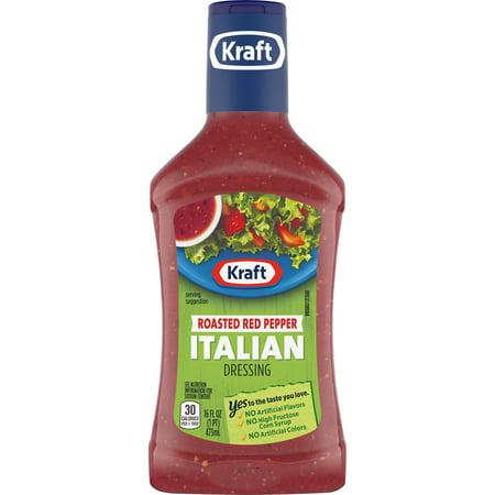 (3 Pack) Kraft Roasted Red Pepper Italian Dressing, 16 Fl Oz Bottle