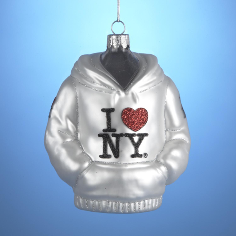 "4.5"" Hand-crafted ""I Love New York"" Hooded Sweatshirt Glass Christmas Ornament"