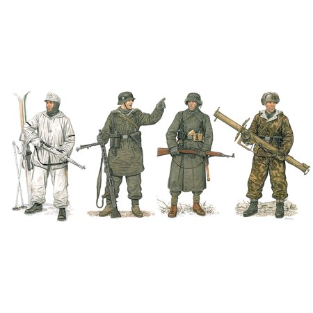 Parts Set Scale (Dragon Models German Winter Combatants 1943-45 Model Building Kit (4 Figures Set), Scale 1/35, Plastic parts with enhanced detail By Dragon Models USA Ship from)