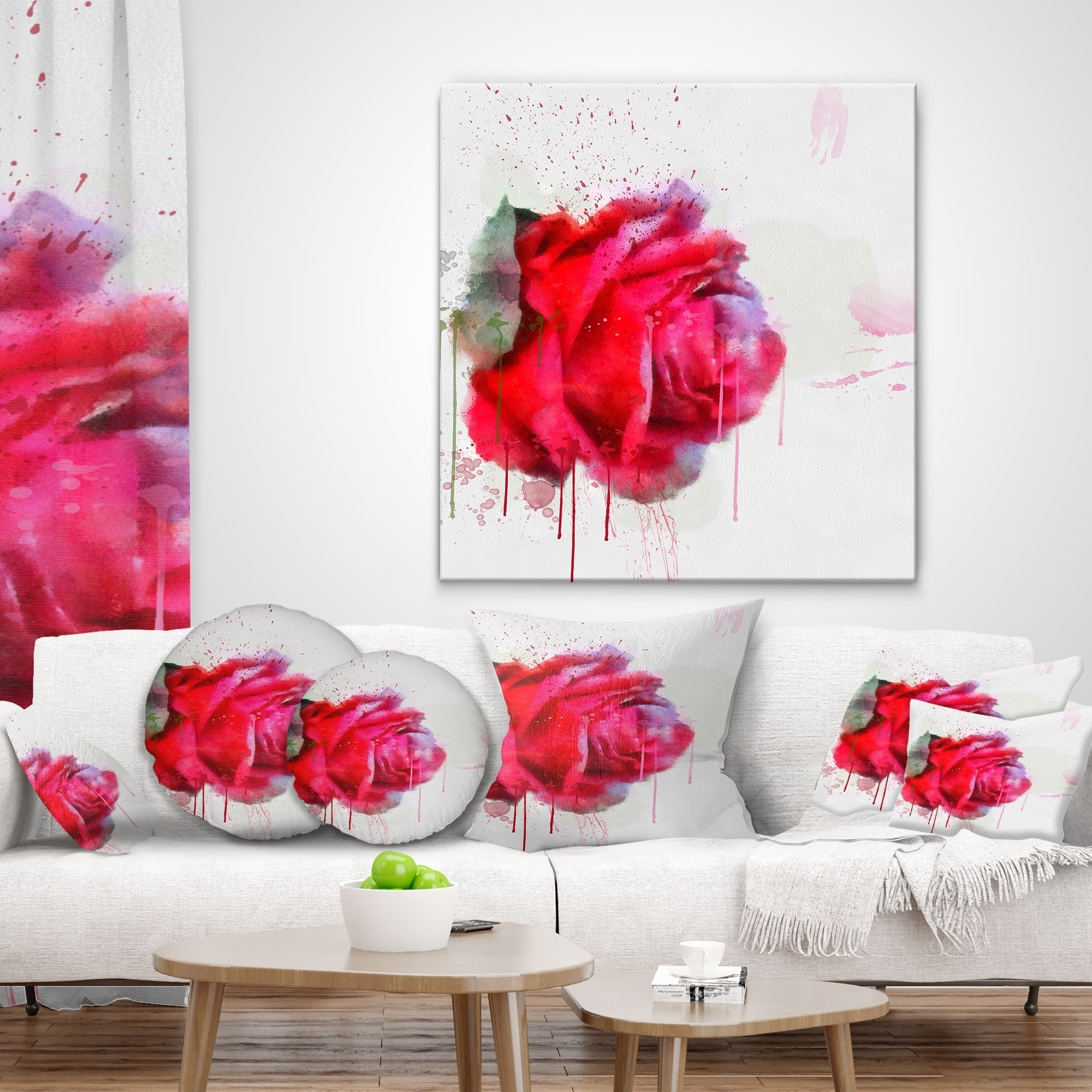 Designart CU13721-18-18 Watercolor Red Rose Illustration Floral Cushion Cover for Living Room Sofa Throw Pillow 18 x 18
