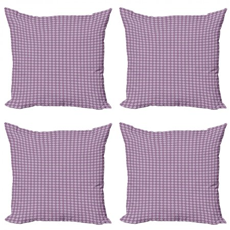 Abstract Throw Pillow Cushion Case Pack of 4, Repetitive Pattern with Monotone Mystical Motif with Ornamental Rhombuses, Modern Accent Double-Sided Print, 4 Sizes, Lilac and Purple, by Ambesonne