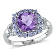 Miabella Halo Diamond, Amethyst, and Cushion Cut Tanzanite Ring in Sterling Silver
