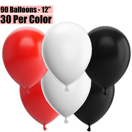 12 Inch Party Balloons, 90 Count - Red + White + Black - 30 Per Color. Helium Quality Bulk Latex Balloons In 3 Assorted Colors - For Birthdays, Holidays, Celebrations, and More!!](90 Birthday Ideas)