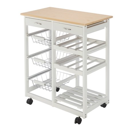 Kitchen Carts And Islands Rolling Microwave Cart Wood Storage Dining Trolley Island With 2 Drawers 3 Fruit Baskets Wine