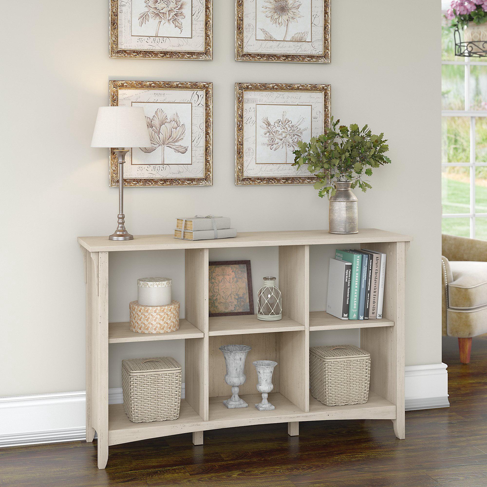 Bush Furniture Salinas Wood 6 Shelf Cube Organizer In Antique White Walmart Com Walmart Com