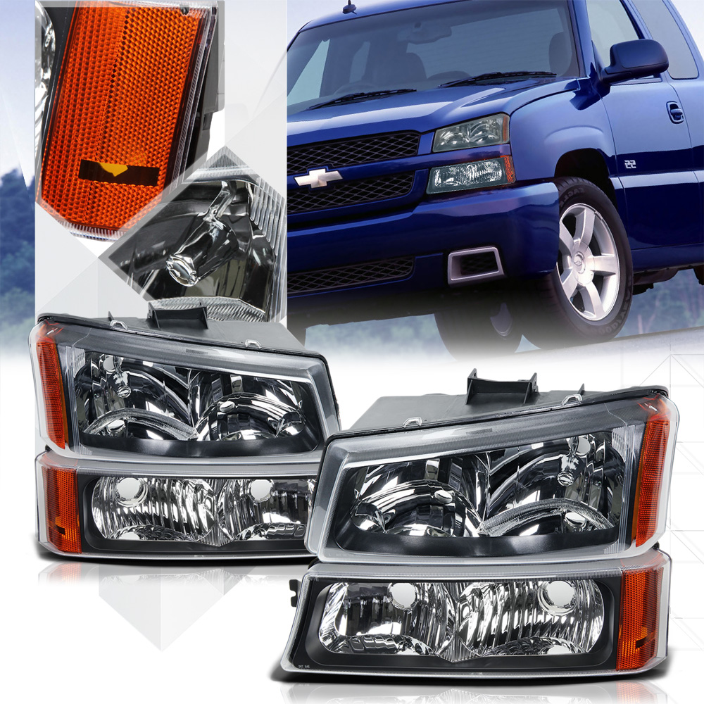Black Housing Headlight Amber Signal Bumper For 03 07 Chevy