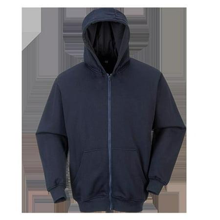 Portwest UFR81 4XL Flame Resistant Zippered Front Hooded Sweatshirt, Navy - Regular (Flame Resistant Hood)