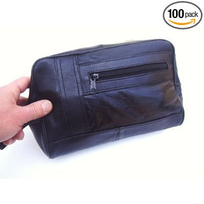 Lambskin Leather Backpack (Mens Black Leather Shaving Kit Toiletry Bag Soft Lambskin #999C)