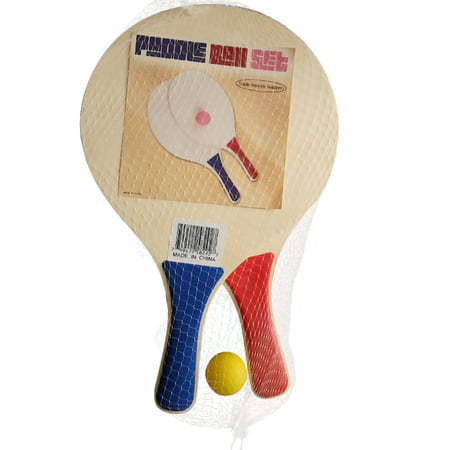Paddle Set - Paddle Ball Beach Ball Game - Wooden Set of 2 Paddles and Ball - By Trademark Innovations (Blue & Red Paddles)