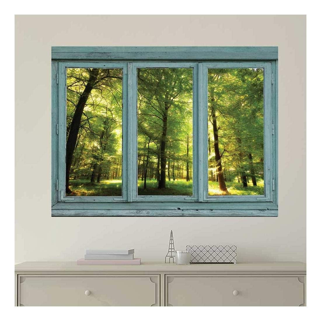 wall26 Vintage Teal Window Looking Out Into a Green Forest and Sun Rays Peeking Through - Wall Mural, Removable Sticker, Home Decor - 24x32 inches