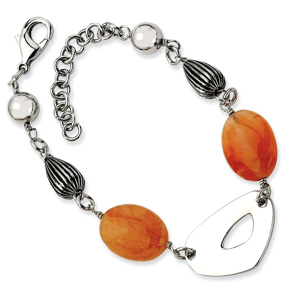 Stainless Steel Red/Orange Agate 8.25in Bracelet (8.25in long)