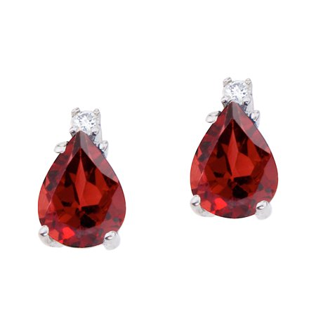 14k White Gold Pear Shaped Garnet and Diamond -