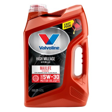 (3 Pack) Valvoline High Mileage with MaxLife Technology SAE 5W-30 Synthetic Blend Motor Oil - Easy Pour 5