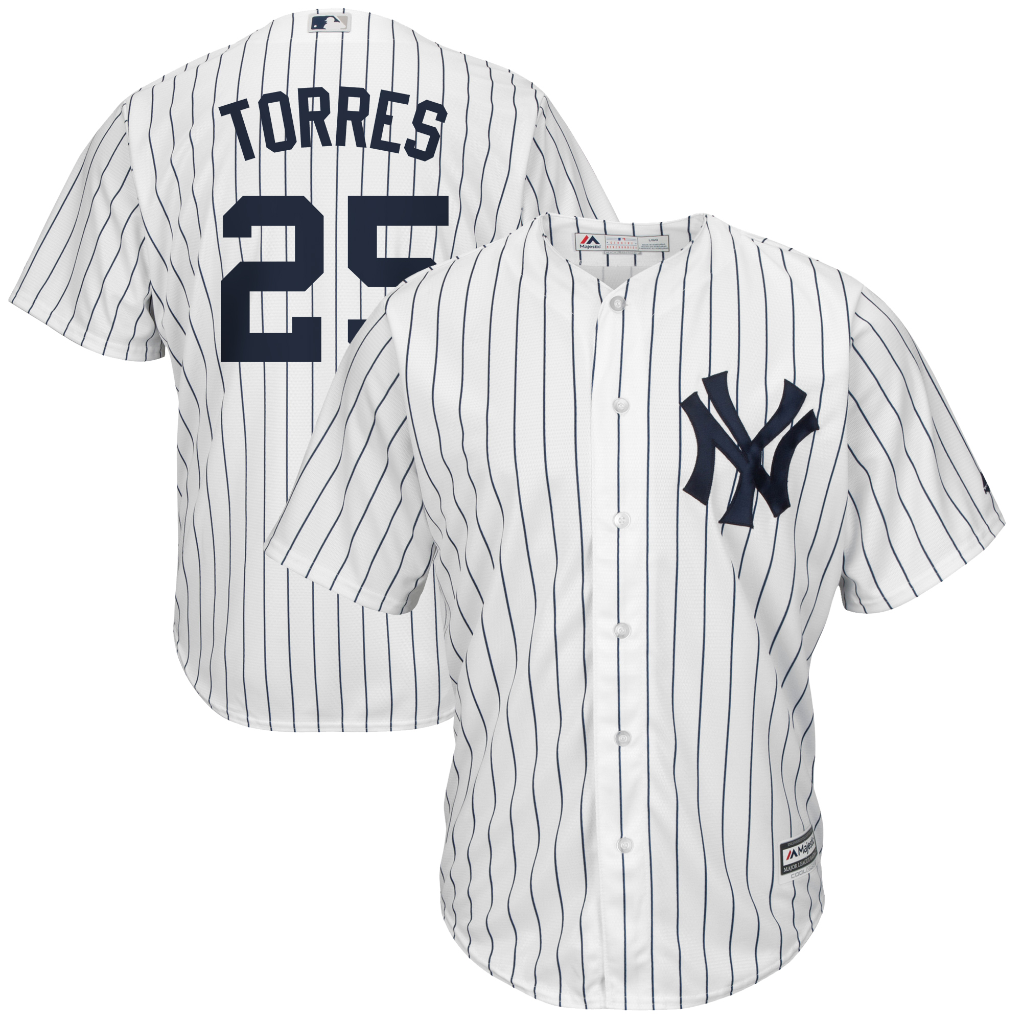 Gleyber Torres New York Yankees Majestic Official Cool Base Player Jersey - White/Navy