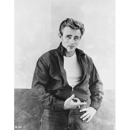 4fd5916a James Dean Portrait in Black Tuck On Jacket and Black Jeans with Left Hand  on the Waist Photo Print