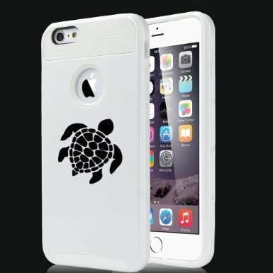 Apple iPhone 6 6s Hybrid Shockproof Impact Hard Cover / Soft Silicone Rubber Inside Case Sea Turtle (White),MIP
