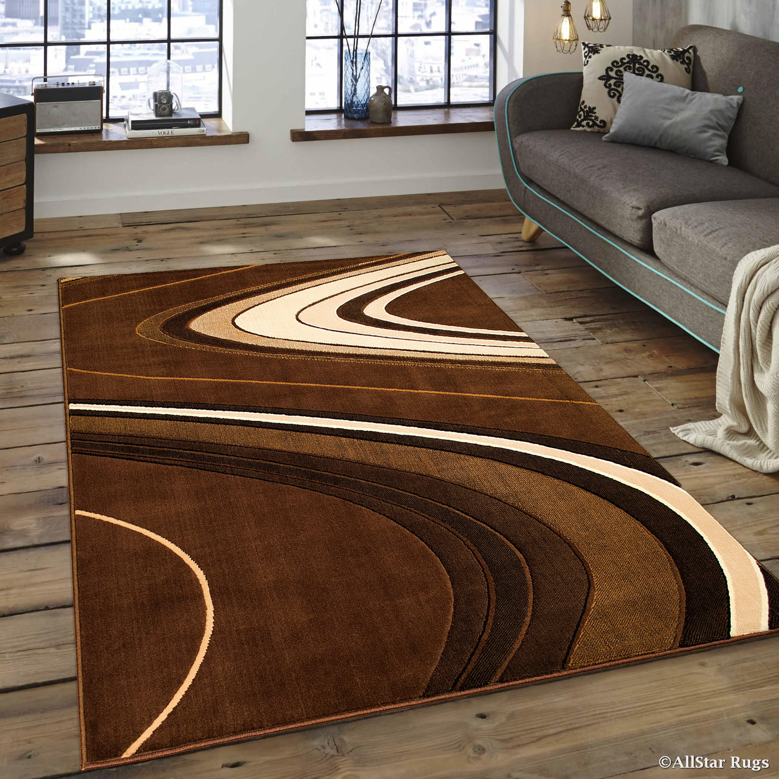 Click here to buy Allstar Brown Modern Contemporary Area Rug (7