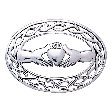 Oval Framed Celtic Claddagh Sterling Silver Pin Brooch, Medium Sized