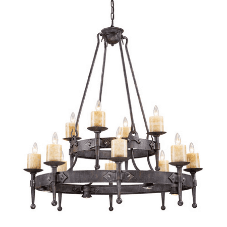 Chandeliers 12 Light With Moonlit Rust Finish Candelabra 42 inch 720 Watts - World of Lamp