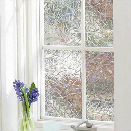 3D Static Cling Frosted Stained Flower Glass Anti-UV intrusion No Glue Non-Adhesive Static Removable Translucent Window Glass Film Sticker (Static Wall Graphic)
