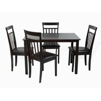 SK New Interiors Dining Kitchen 5 Pc Set Rectangular Table and 4 Wood Warm Chairs, Espresso