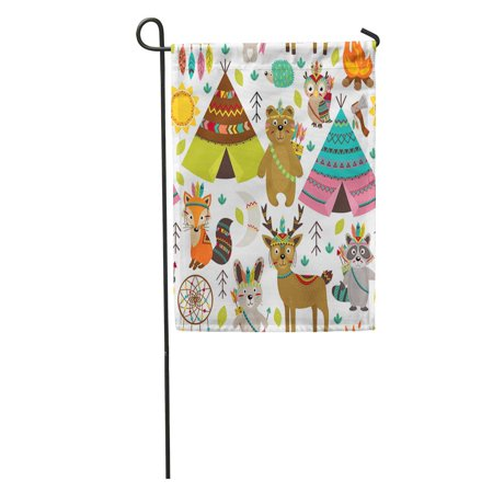 KDAGR Ethnic Tribal and Tent American Arrow Aztec Bear Bird Garden Flag Decorative Flag House Banner 28x40 inch