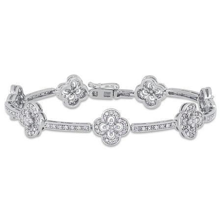 2 Carat T.W. Diamond Sterling Silver Geometric Tennis Bracelet,