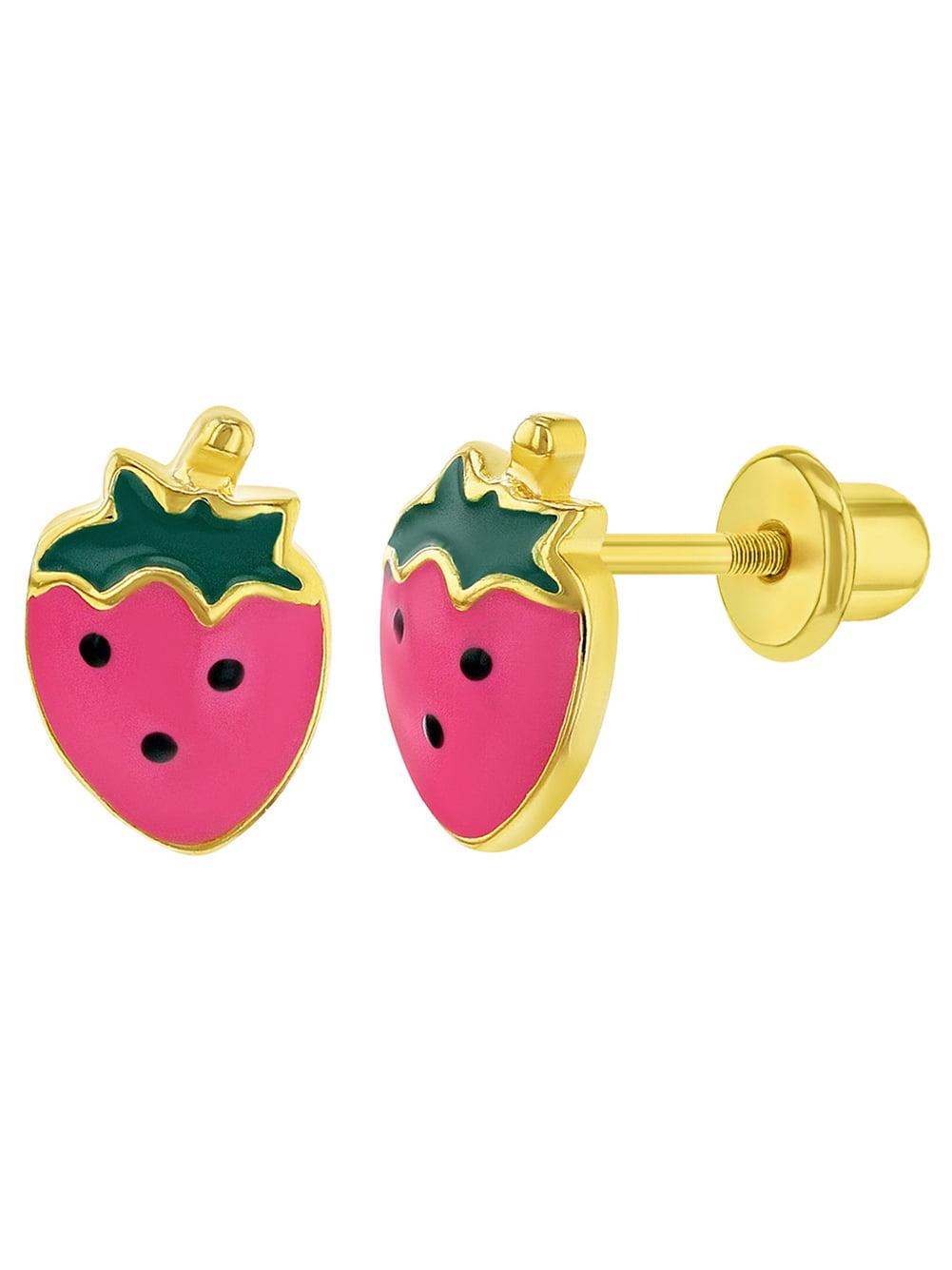 Red Fruit Earrings Enamel Strawberry Earrings Kawaii Food Gift