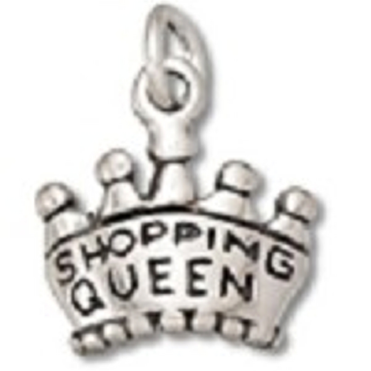 Sterling Silver Womens 1mm Box Chain Queen Of Shopping Crown Pendant Necklace