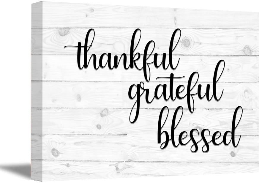 awkward styles thankful grateful blessed wooden canvas art quotes