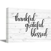 Awkward Styles Thankful Grateful Blessed Wooden Canvas Art Quotes Wall Decor Inspirational Quote Art Motivational Gifts Office Decor Calligraphy Wall Art Thankful Grateful Blessed Canvas Art
