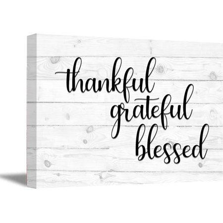 Awkward Styles Thankful Grateful Blessed Wooden Canvas Art Quotes Wall Decor Inspirational Quote Art Motivational Gifts Office Decor Calligraphy Wall