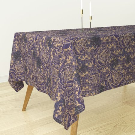 Tablecloth Floral Vintage Style Rose Graphic Vivid Oversized Cotton Sateen - Oversized Tablecloths