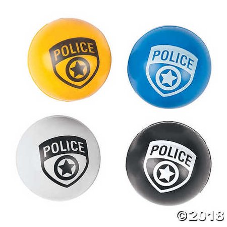 Police Party Bouncy Ball - Black And White Beach Balls