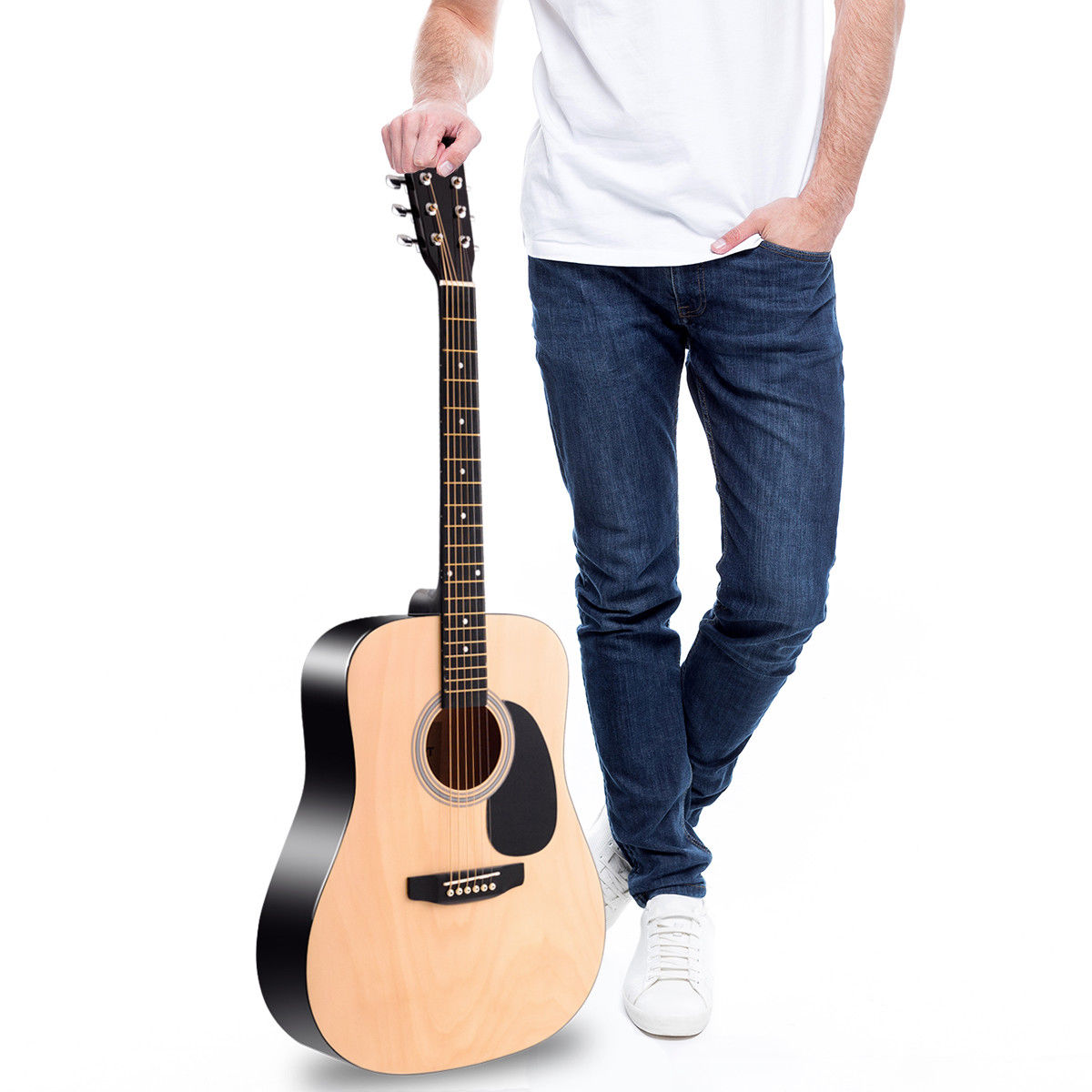 "Sonart 41"" Acoustic Folk Guitar 6 String w/ Case Strap Pick Strings Beginners - image 3 of 10"