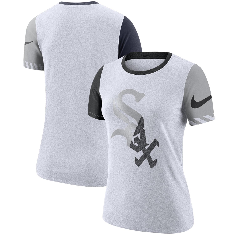 Chicago White Sox Nike Women's Slub Two-Tone Logo Crew Neck T-Shirt - White