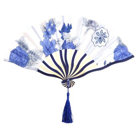 Blue Hand Fan (Dancing Polyester Flower Pattern Tassel Ornament Handheld Hand Fan White)