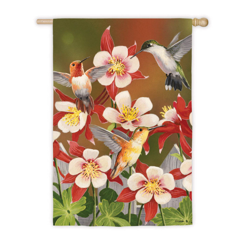 House Size Silk Reflections Flag, Flurry of Hummingbirds, 29x43 Inches
